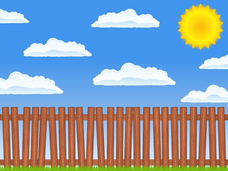 Wooden fence and blue sky with sun and clouds Vector