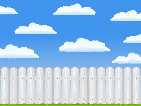 Wooden fence and blue sky with clouds Vector