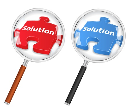 Solution concept with magnifying glass and puzzle piece Vector
