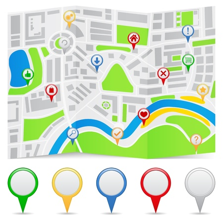 Abstract map on a folded paper and map markers Vector