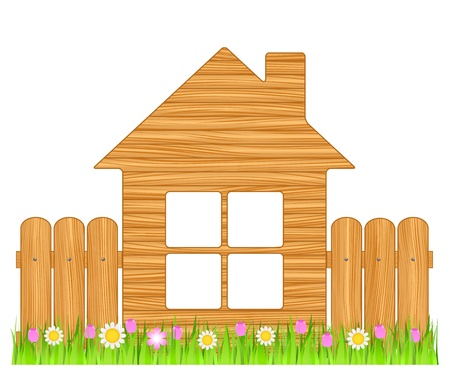 Symbol of ecological wooden house Vector