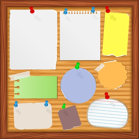 Bulletin board with old paper notes Vector