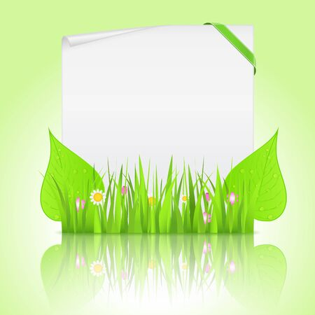 notice board: White paper banner with corner ribbon and green grass with leaves Illustration