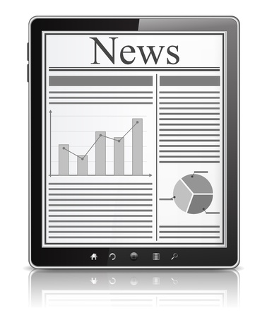 News on the screen of Tablet PC Vector
