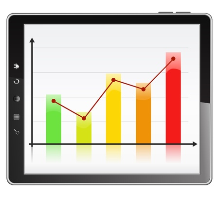 stat: Business graph on the screen of Tablet PC Illustration