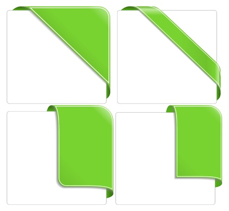 new corner: Green corner ribbons Illustration