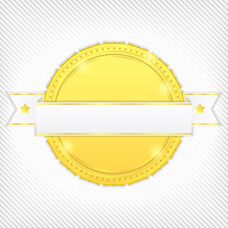 striped band: Golden circle with ribbon on striped background
