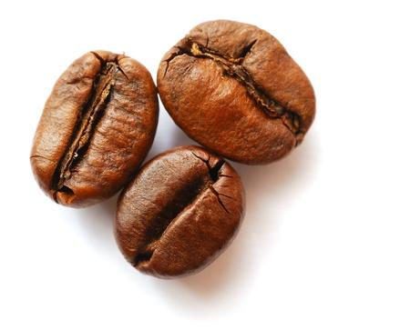 grano de cafe: Los granos de café sobre fondo blanco