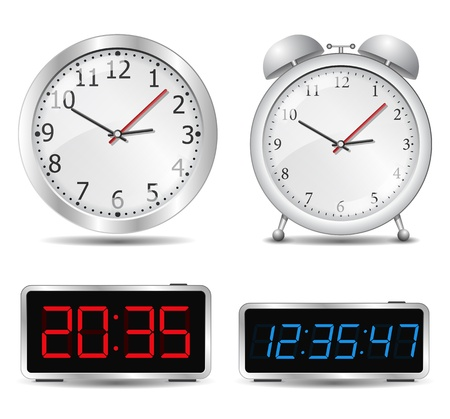 timer: Set of different clocks Illustration