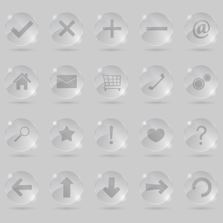 exclamation point: Set of glass icons