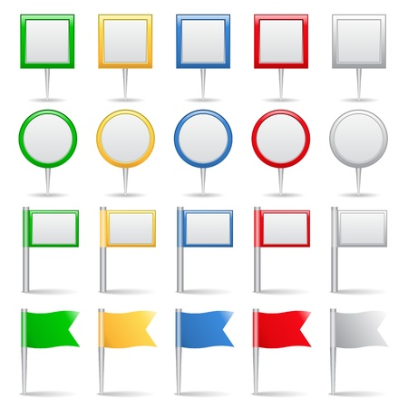 Set of map markers and flags Vector