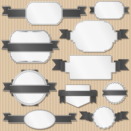 Set of retro labels with ribbons Stock Vector - 12483472