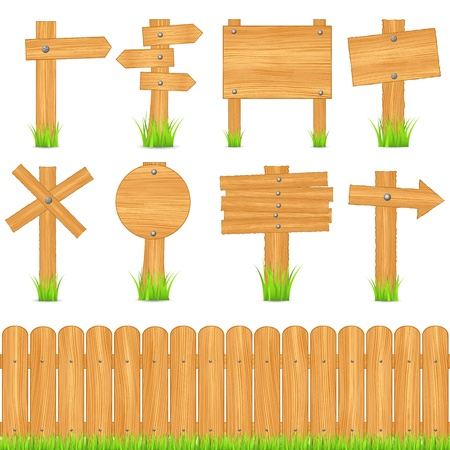Set of different wooden objects Vector