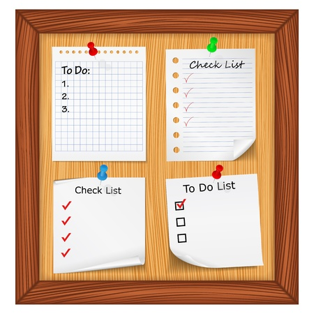 bulletin board: Bulletin board with ToDo List and Check List Illustration