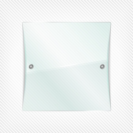 Transparent glass board on striped background Vector