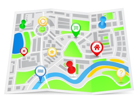 gps navigator: Paper map with pointers Illustration
