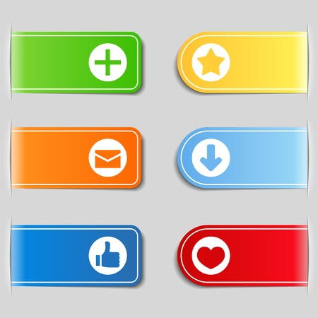 like button: Tabs with icons Illustration