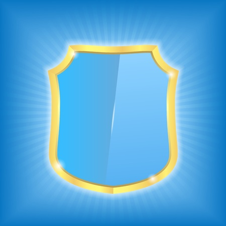 Shiny blue shield Stock Vector - 12841479