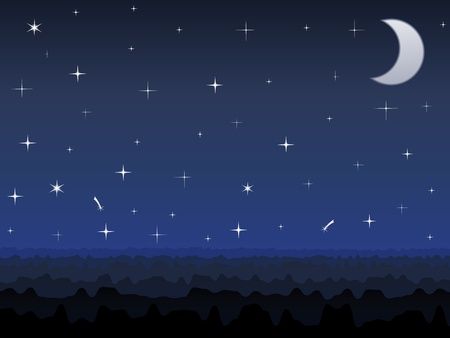 Silhouette of mountains and night sky with stars and moon Vector