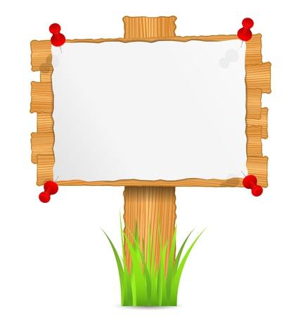 planche: Planche de bois avec du papier ci-joint Illustration