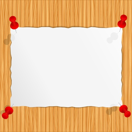 bulletin board: Paper attached to the wooden wall