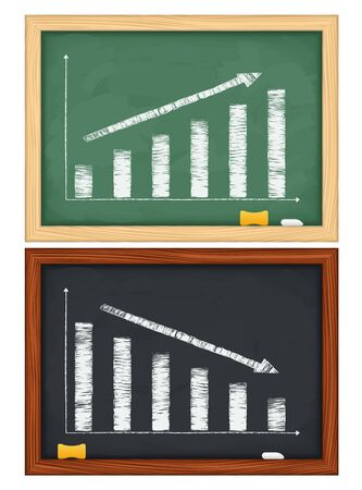 Blackboards with hand drawn graphs Stock Vector - 12841502