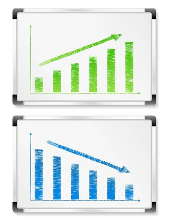 Whiteboards with hand drawn graphs Vector