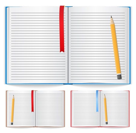 textbooks: Open notebook with bookmark and pencil