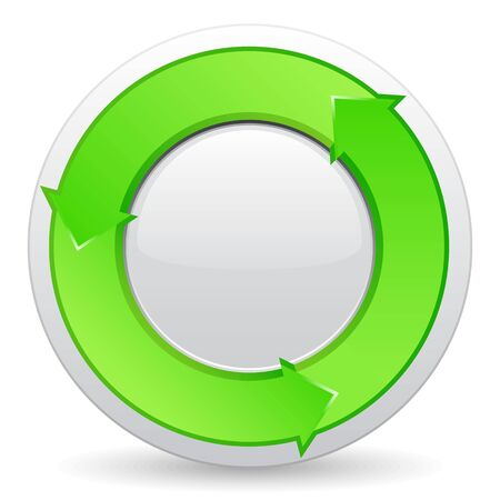 circular arrow: Green button with arrows