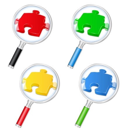 Magnifying glasses with puzzle pieces Vector
