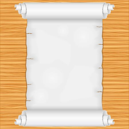 Scroll on wooden background Stock Vector - 12841497