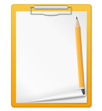 clipboard isolated: Clipboard with pencil