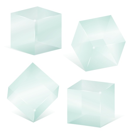 storage boxes: Transparent glass cubes Illustration