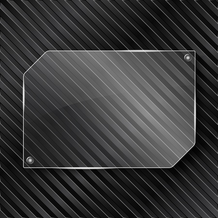 Transparent glass frame on striped background Vector