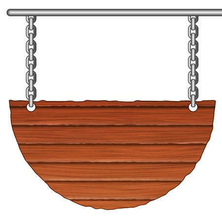 Old wooden sign on the chain Vector
