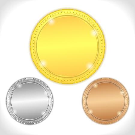 Golden, silver and bronze medals Illustration