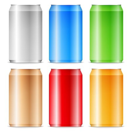 Color aluminum cans on white background Vector