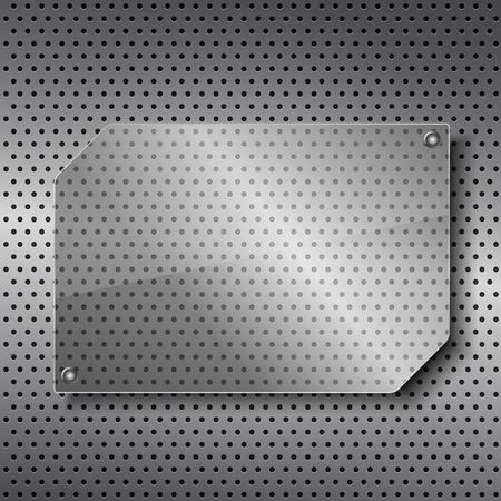 Transparent glass frame on metal background Vector
