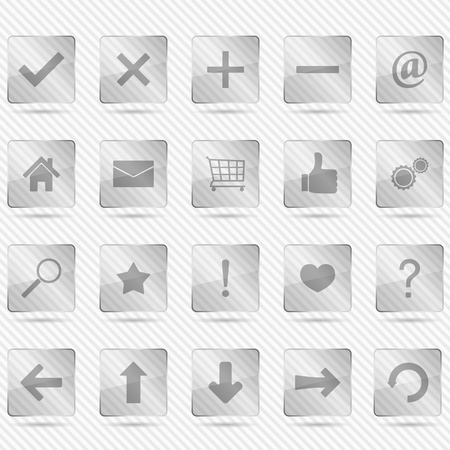 Set of transparent glass icons on striped background Vector