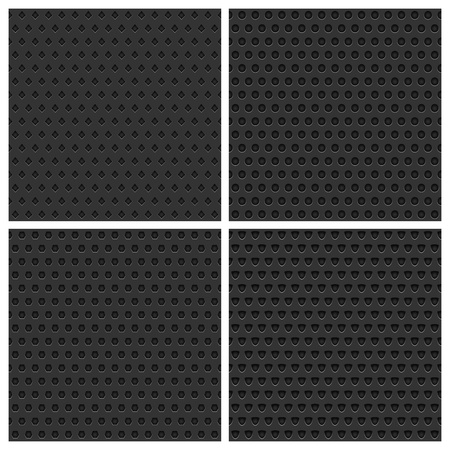 Set of four seamless black metal background Vector
