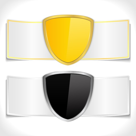 Banners with golden and black shields Vector