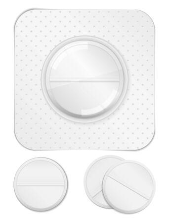 a tablet blister: White pills