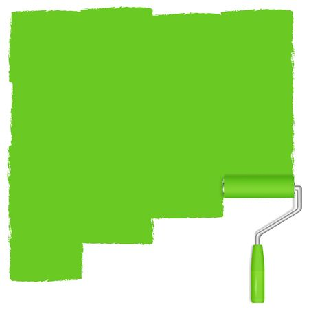 Green background with paint roller Stock Vector - 13200853