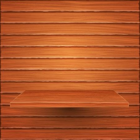 Wooden shelf on wooden wall Vector