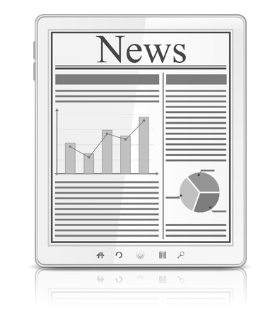 newspaper articles: News on the screen of white Tablet PC