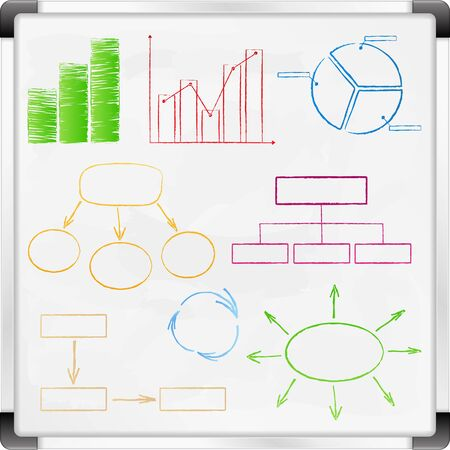 Whiteboard with graphs and diagrams Vector