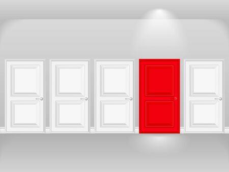 Rode deur in rij van witte deuren