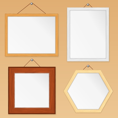 Set of wooden frames Stock Vector - 13307529