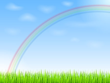 Rainbow in blue sky Vector