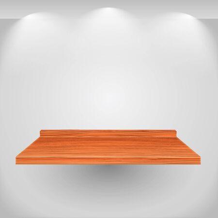 �tag�re bois: Plateau en bois sur mur gris Illustration